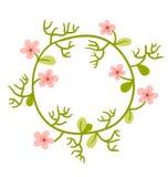 den blom- ramen inramniner serie Gullig retro blommakrans som är perfekt för att gifta sig inbjudan Royaltyfri Foto