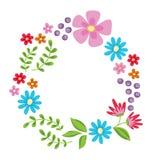 den blom- ramen inramniner serie Gullig retro blommakrans som är perfekt för att gifta sig inbjudan Royaltyfria Bilder