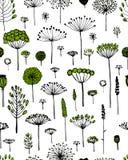 Den blom- sömlösa modellen, skissar för din design royaltyfri illustrationer