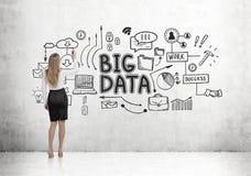 Den blonda affärskvinnan som drar stora data, skissar Royaltyfria Bilder