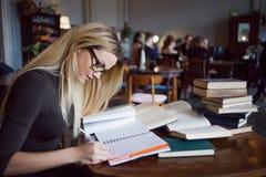 Den blonda flickan i arkivet, gör en översikt av läroböckerna Utbildning examenförberedelse Royaltyfria Bilder