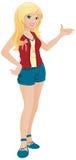 den blonda flickan kortsluter tonårs- slitage Royaltyfria Bilder