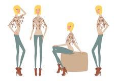 Den blonda flickan poserar uppsättningen vektor illustrationer