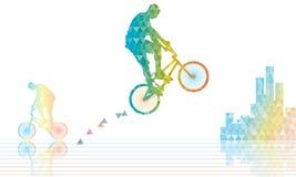 Den Bmx ryttaren hoppar poligonal Arkivbild