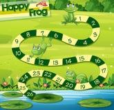 Den Boardgame mallen med gröna grodor parkerar in vektor illustrationer