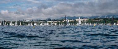 Den Bol dOren Mirabaud är den viktigaste inlands- sjöregattan i världen royaltyfri fotografi