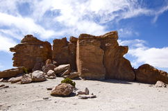 den bolivia de bildande rocken salar turnerar uyuni Arkivbild