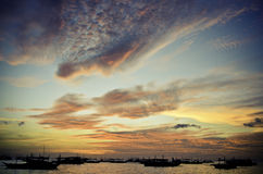 den boracay ön philippines kopplar av solnedgång Arkivbilder
