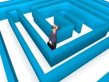 Den borttappade affärsmannen Indicates Entrepreneurs Direction och förväxlar tolkningen 3d stock illustrationer