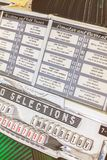 Close up of a vintage jukebox on an antique fifties to seventies royalty free stock image