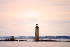 Den Boston hamnfyren är den äldsta fyren i New England Royaltyfria Foton