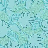 Den botaniska djungeln lämnar modellen, tropiskt sömlöst, blomman för modetyg och alla tryck på söt rosa bakgrund in stock illustrationer