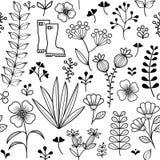 Den botaniska sömlösa modellen, handen drog lösa blommor och örter planlägger, tapetserar stock illustrationer