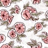 Den botaniska sömlösa modellen med blommor räcker dragit med konturlinjer på vit bakgrund Blom- bakgrund med blomningträdgården stock illustrationer