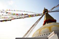 Den Boudhanath templet med Buddha synar, eller vishet synar på Katmandu Nepal Fotografering för Bildbyråer