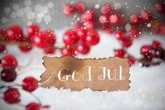 Den brända etiketten, snö, snöflingor, guden Juli betyder glad jul Royaltyfri Fotografi