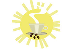 Den bra morgonen ses från kaffe Arkivbild