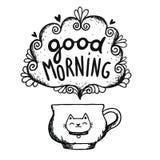 Den bra morgonen skissar med koppen kaffe och katten Arkivbild