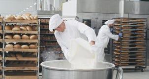 Den bra seende gamla bagaren som förbereder degen, tillfogar mjölet i industriella arbetare för en behållarebakgrund som flyttar  arkivfilmer