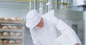 Den bra seende le gamla bagaren som förbereder degen tillfogar han, mjöl i en industriell behållarecloseup honom som ser rak till stock video