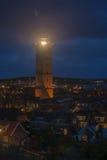 Den Brandaris fyren på ön av Terschelling i Nederländerna på natten Royaltyfria Bilder