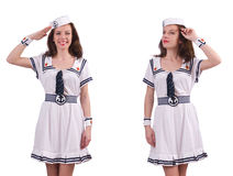 Den bärande sjömandräkten för kvinna som isoleras på vit Arkivfoton