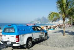Den brasilianska polisen åker lastbil Arpoador Rio de Janeiro Brazil Royaltyfria Bilder