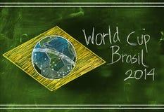 Den Brasilien flaggan 2014 världscup skissar Arkivfoto