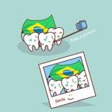 Den Brasilien tanden tar en bild stock illustrationer