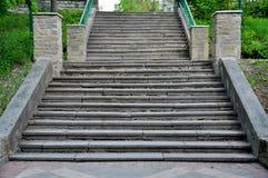 Den breda stentrappan i parkerar fotografering för bildbyråer