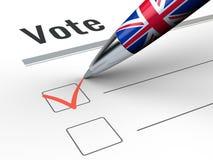 Den Brexit - Pen With Great Britain flaggan och röstar checkboxen Fotografering för Bildbyråer