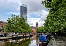 Den Bridgewater kanalen i Manchester Royaltyfria Bilder