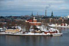 Den BrigTre kr af Stockholm i vinter Arkivfoton