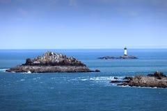 Den Brittany havpanorama, öar och fyren pekar du Grouin Arkivfoto