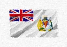 Den brittiska antarktiska territoriumhanden målade den vinkande nationsflaggan, nolla Arkivfoto