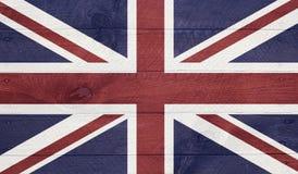 Den brittiska flaggan på wood bräden med spikar Royaltyfri Fotografi
