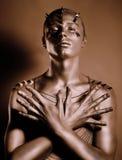 Färga. Bodyart. Brons den målade manen förkroppsligar skuggar in. Nåd royaltyfri bild