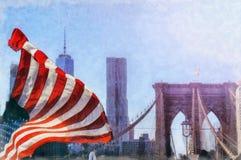 Den Brooklyn bron i New York City är en av de äldsta upphängningbroarna i Förenta staterna Det spänner över Eastet River och lura Royaltyfria Bilder