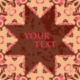 Den Broun stjärnan formade den tomma ramen för text som var orientalisk Royaltyfri Fotografi