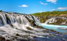Den Bruarfoss vattenfallet i Island Royaltyfria Foton