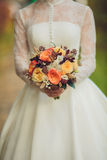 Den brud- buketten blommar closeupen Arkivbilder