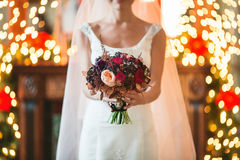 Den brud- buketten blommar closeupen Arkivfoto