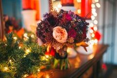 Den brud- buketten blommar closeupen Arkivbild