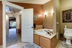 Den bruna badruminre ställer ut det sprutade ut hörnet badar Royaltyfri Bild