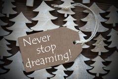 Den bruna juletiketten med aldrig stoppar att drömma Arkivfoto
