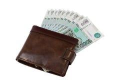 Den bruna läderplånboken med rubel som isoleras på vit bakgrund Arkivbild