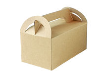 Den bruna pappers- asken stängde sig isolerat på vit bakgrund Royaltyfri Foto