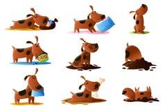 Den bruna tecknad filmhunden ställde in av normala dagliga aktiviteter isolerat på vit bakgrund vektor illustrationer