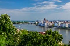Den Budapest antennen beskådar Royaltyfri Bild