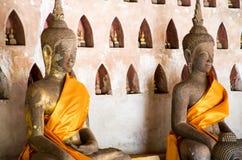 Den BuddhabildWat Si Saket templet är en forntida buddistisk tempel i Vientiane Fotografering för Bildbyråer
